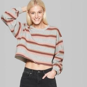 Women's Striped Puff Long Sleeve Cutoff Crew -
